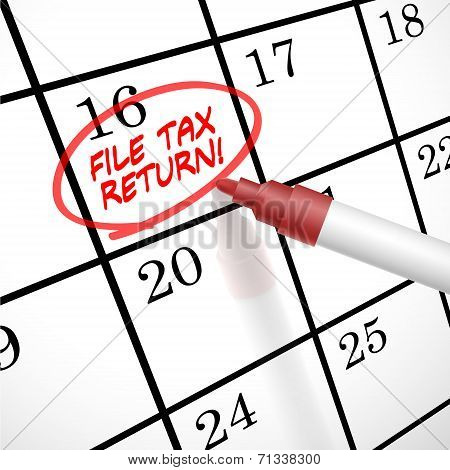 File Tax Return Words Circle Marked On A Calendar