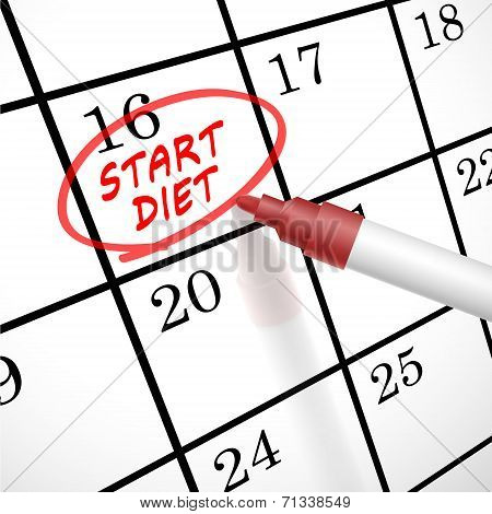 Start Diet Words Circle Marked On A Calendar