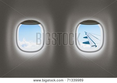 Airplane or jet windows, flight concept.