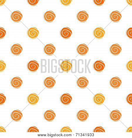 Warm polka dot vector seamless pattern