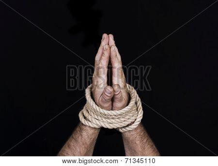Men's Hands Tied Rope