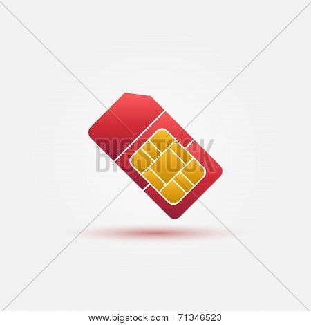 SIM card vector red icon