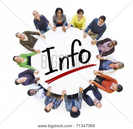 Group of People Holding Hands Around Letter Info