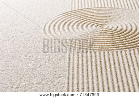 Macro shot of Sand with lines and circles