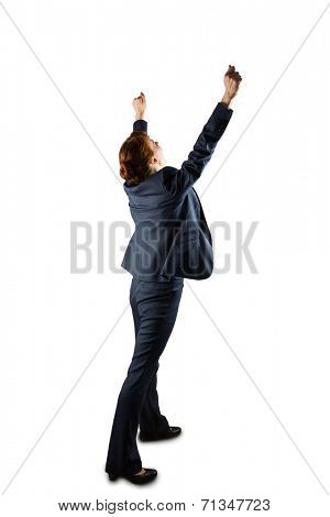 Sucessful businesswoman in suit cheering on white background
