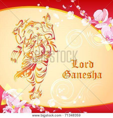 Lord Ganesha on floral backdrop