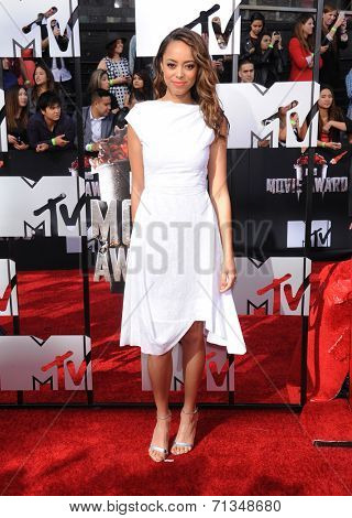 LOS ANGELES - APR 13:  Amber Stevens arrives to the 2014 MTV Movie Awards  on April 13, 2014 in Los Angeles, CA.
