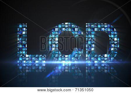 Digitally generated Lcd made of digital screens in blue