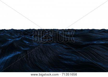 Digitally generated Dark blue rough ocean on white background