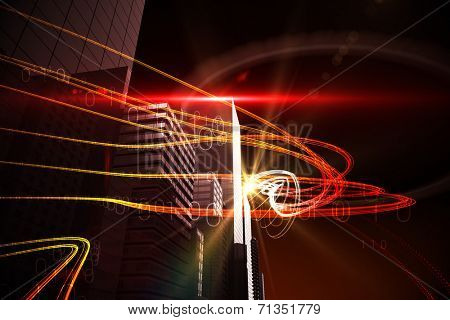 Digitally generated Orange light beams over skyscrapers