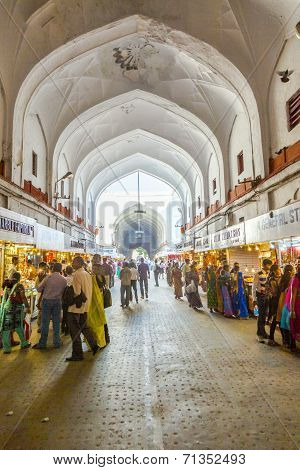 People Shop Inside The Bazaar In The Red Fort