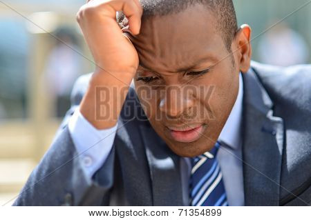 Stressful Businessman At Outdoors