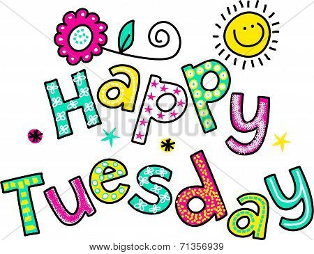 Happy Tuesday Cartoon Text Clipart