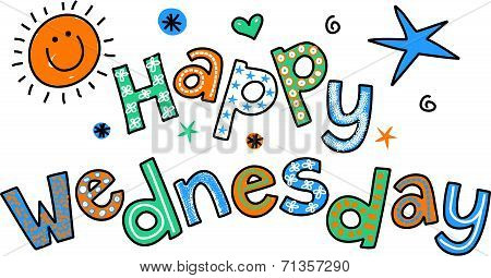 Happy Wednesday Cartoon Text Clipart