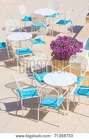 Tables And Chairs In Terrace Cafe