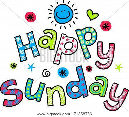 Happy Sunday Cartoon Text Clipart