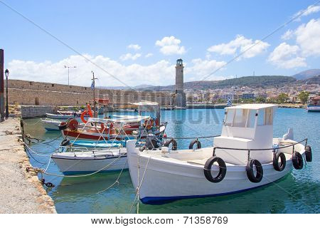 Fishing Boats In Old Port In Rethymno