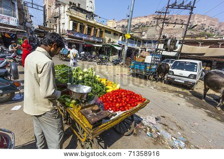 Man Sells Vegetables At The Market In Jodhpur