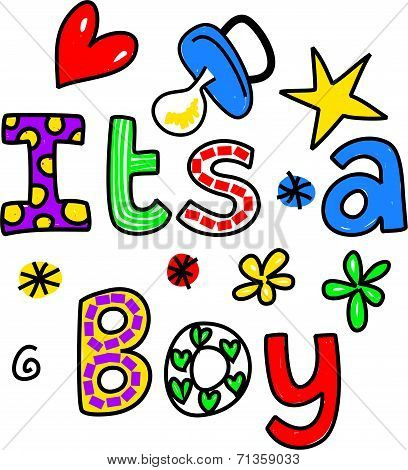 It's a Boy Cartoon Text Clipart