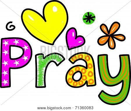 Pray Cartoon Text Clipart
