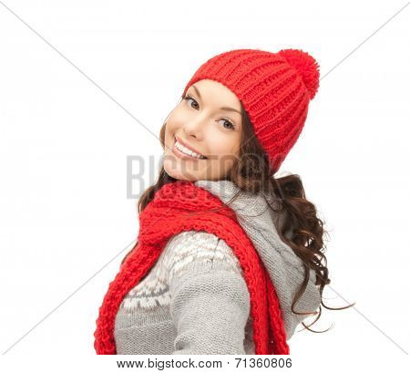 winter, christmas, holidays, clothing and people concept - smiling asian woman in red hat and mittens over white background