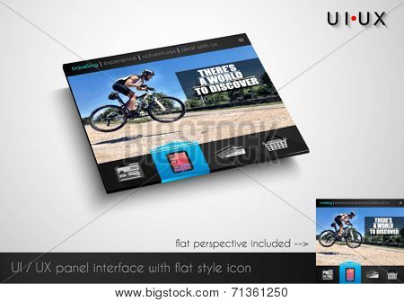 Layout of flat style modern webite panel with icons and sample image. Flat frontal perspective included.