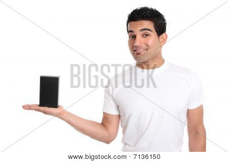 Man Holding Your Merchandise Product