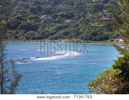 Jamaica. The sea in the sunny day and mountains.