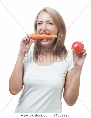 Beautiful Woman With Apple And Carrot Isolated On White Background