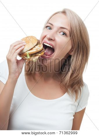 Funny Girl Eating Burger Isolated On White Background