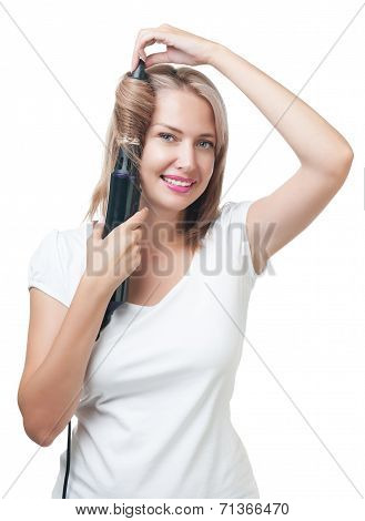 Beautiful Girl Doing Hairstyle With Hair Brush