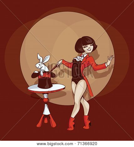 Pin-up cartoon cute illusionist with white rabbit