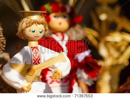 Colorful Belarusian Straw Dolls At The Market In Belarus
