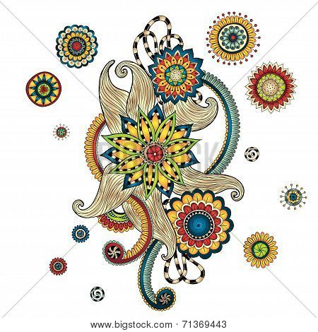 Henna Paisley Mehndi Doodles Design Element. Stock Vector ...