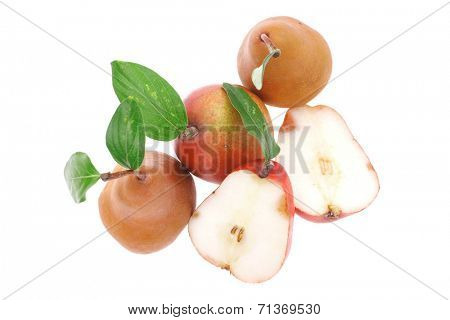 red and gold pears with half's isolated over white background