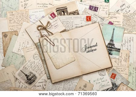 Open Empty Diary Book, Old Letters, French Postcards