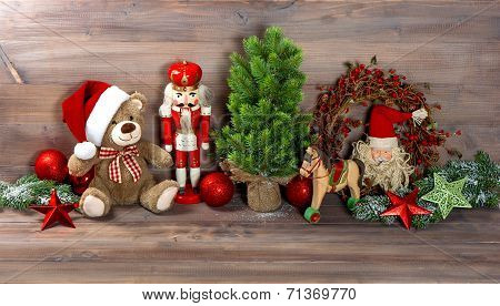 Christmas Decoration With Toys Teddy Bear And Nutcracker