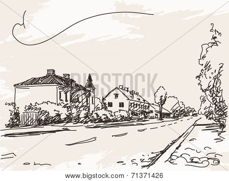 Town house and road sketch Vector illustration