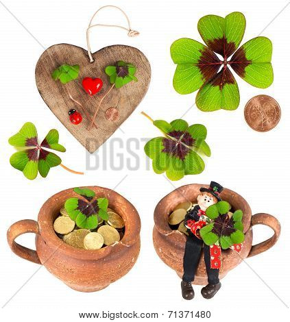 Symbols Of Luck. Red Heart, Coin, Clover, Chimney Sweep