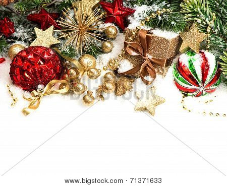 Christmas Decorations In Red, Golden, Green