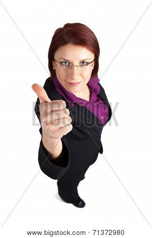 Businesswoman Showing Thumb's Up Sign