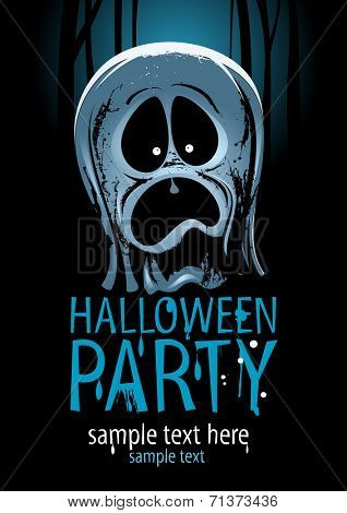 Halloween party design with screaming ghost and place for text.