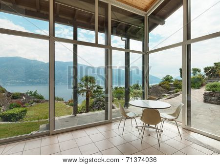 mountain house; modern architecture; interior; veranda