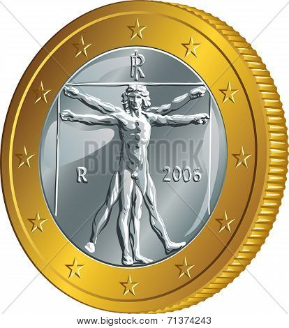 Vector Italian Money Gold Coin One Euro (vitruvian Man)