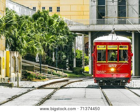 Riverfront Streetcar In New Orleans