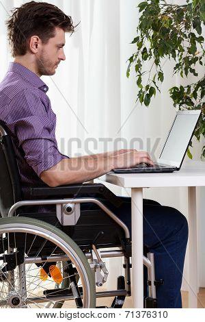 Man On Wheelchair Working On Laptop