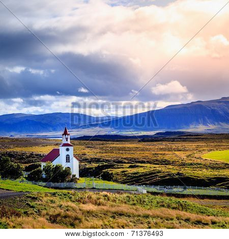 Traditional Icelandic church near Helgafell Mountain in western Iceland