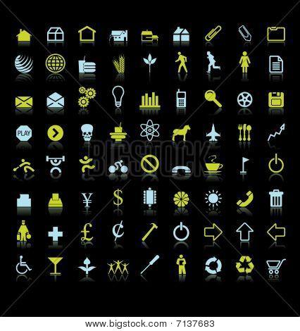 72 colorful vector icon symbols