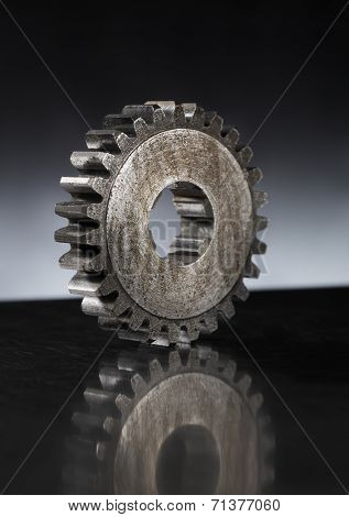 Old rusty cog gear wheel on metallic surface, Short depth-of-field