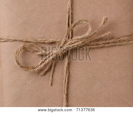 Closeup of a Twine bow on a plain brown package. the string is doubled as is the knot.